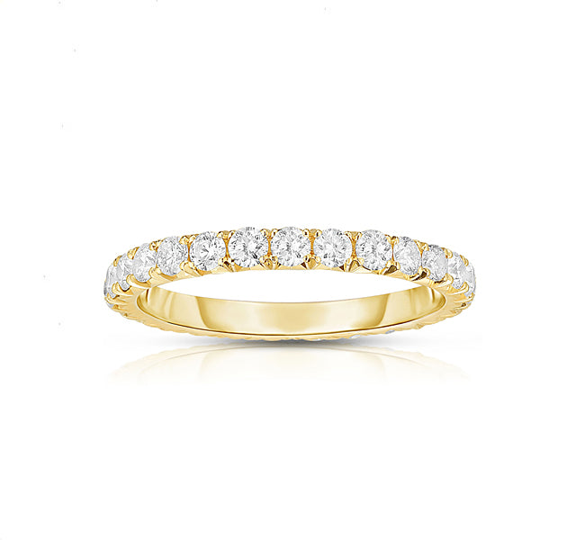 14k Yellow Gold French Cut Eternity Band SZ 5.5