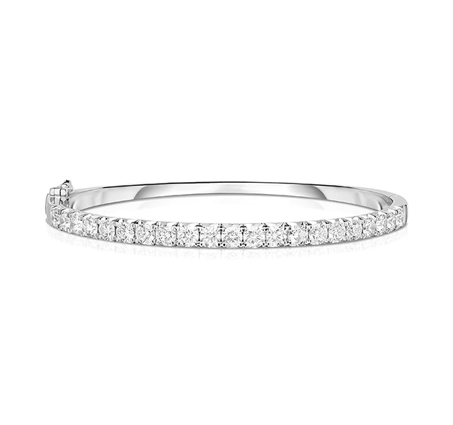 Hinged French Cut Diamond Bangle In White Gold