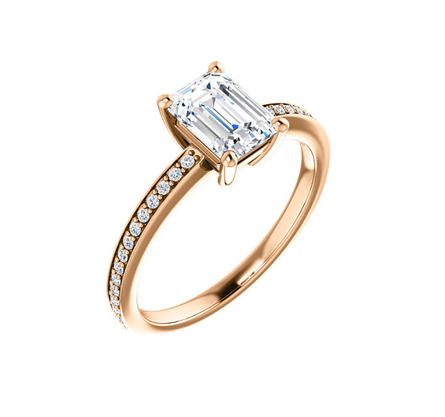Emerald Cut Center with Side Round Diamonds