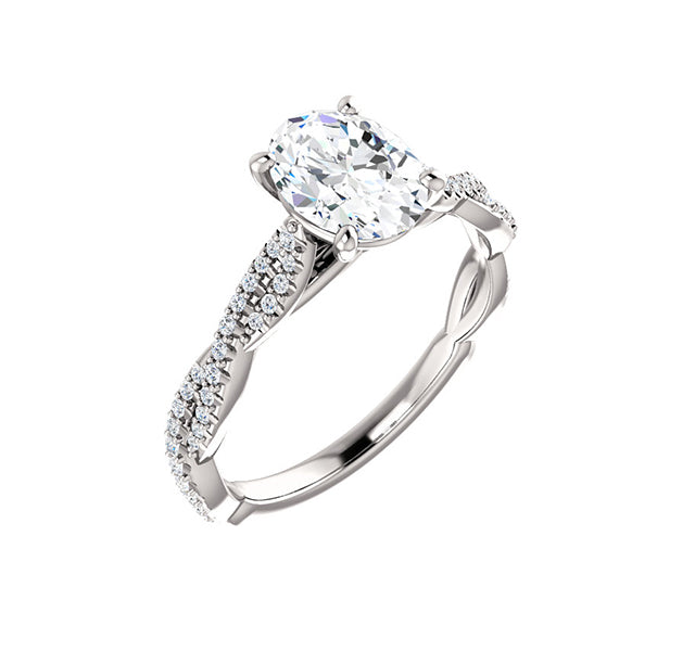 Oval center with braided sides accented by diamonds