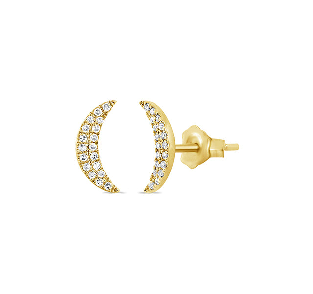 14k Yellow Gold Crescent Moon Stud Earrings With Pavé Diamonds