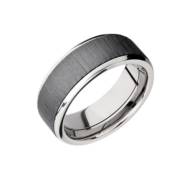 Titanium 8mm Band With Treebark Zirconium Inlay And Beveled Edges
