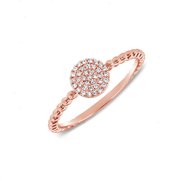 Pave Disc Ring in Rose Gold