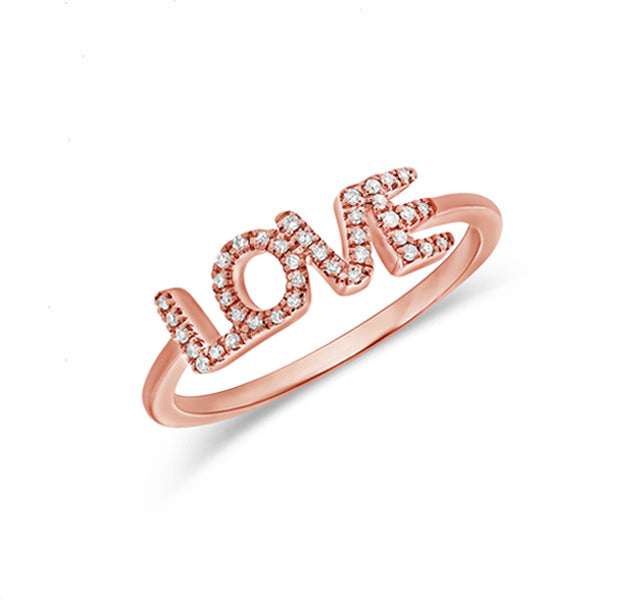 """LOVE"" Ring in Rose Gold"