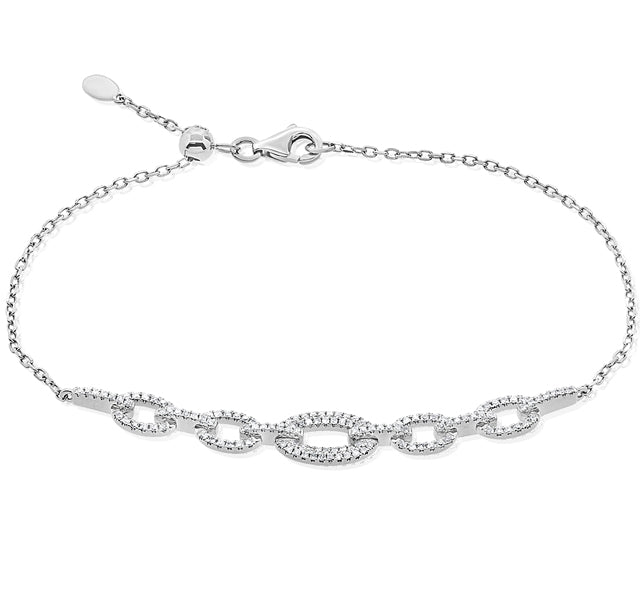Diamond Link Bracelet in White Gold