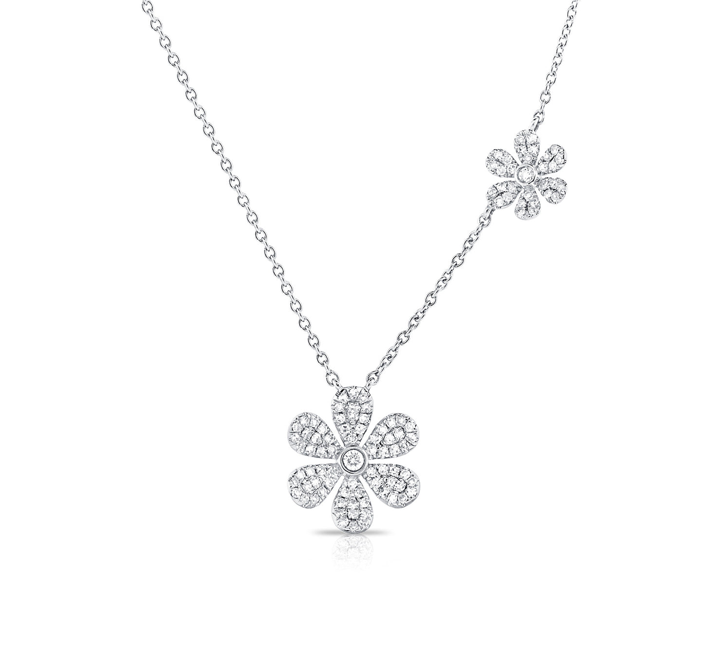 Pave Diamond Flower Necklace in White Gold