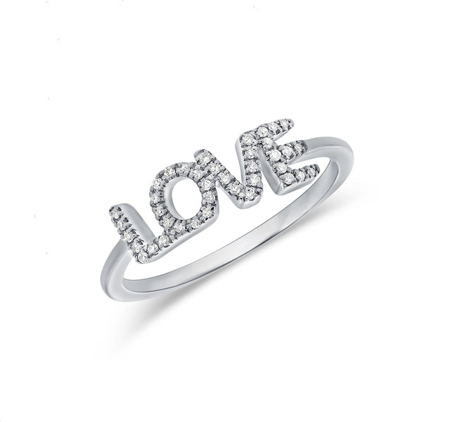 """LOVE"" Ring in White Gold"