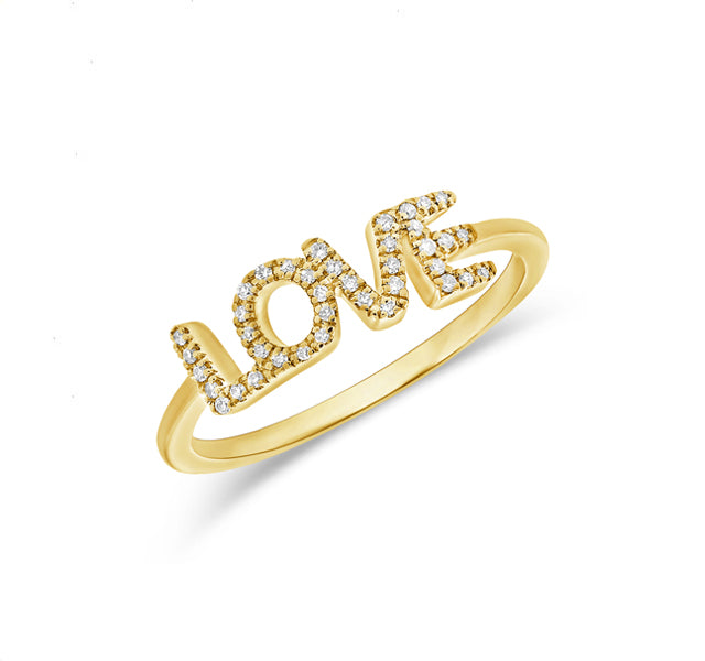"""LOVE"" Ring in Yellow Gold"