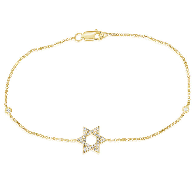 Star of David Bracelet in Yellow Gold