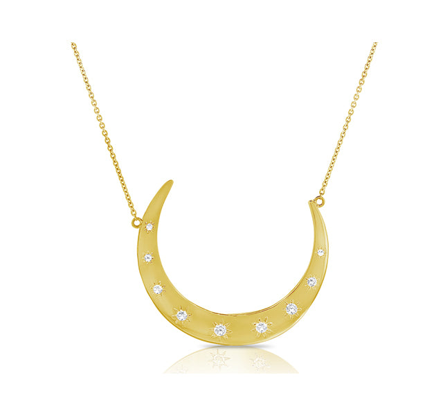 Crescent Moon Pendant In Yellow Gold