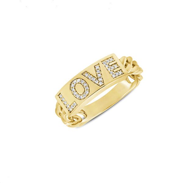 """LOVE"" Ring With Diamonds In 14k Yellow Gold"