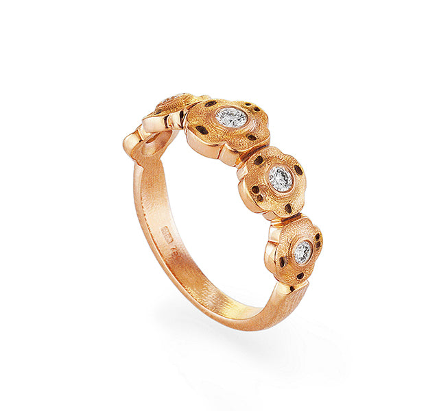 Flora Ring In Rose Gold With Diamonds