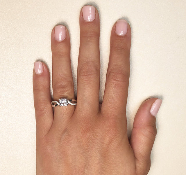 Twisted Setting for Cushion with High Polish & Diamond Accented Shank