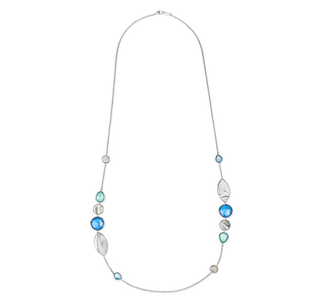 Stone and Shell Station Necklace in Sterling Silver