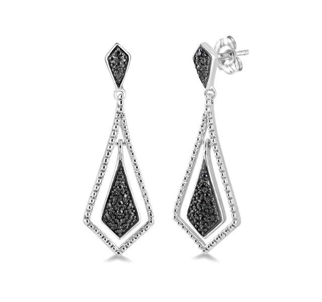 Teardrop Black Diamond Drop Earrings In Sterling Silver