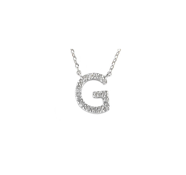 "Diamond Letter ""G"" Necklace in Sterling Silver"