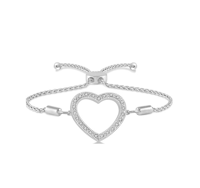 Diamond Heart Adjustable Slide Bracelet In Sterling Silver