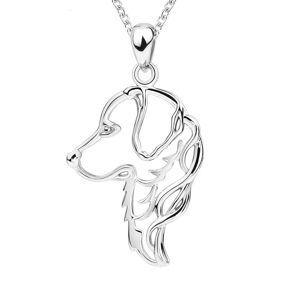 Golden Retriever Necklace Sterling Silver