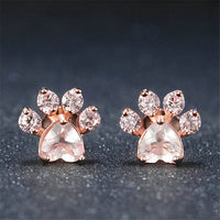 Rose Gold Dog Paw Print Earrings