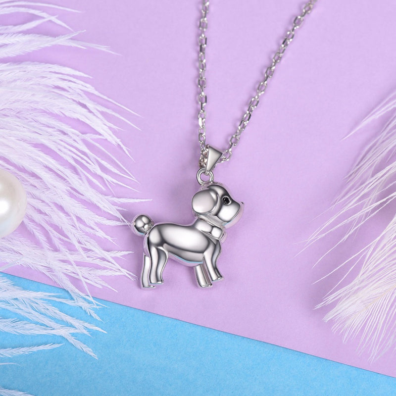 Cute Puppy Sterling Silver Necklace