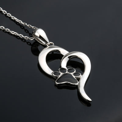 Dog Paw Print Heart Sterling Silver Necklace