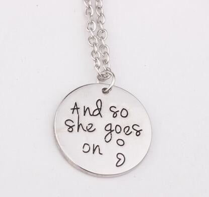 And So She Goes On Semicolon Disc Necklace - -