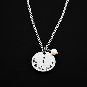 """And So She Goes On"" Semicolon Necklace with Pearl - Shobble"