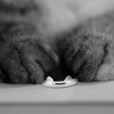 Cute Cat Ring - Genuine Sterling Silver - Shobble