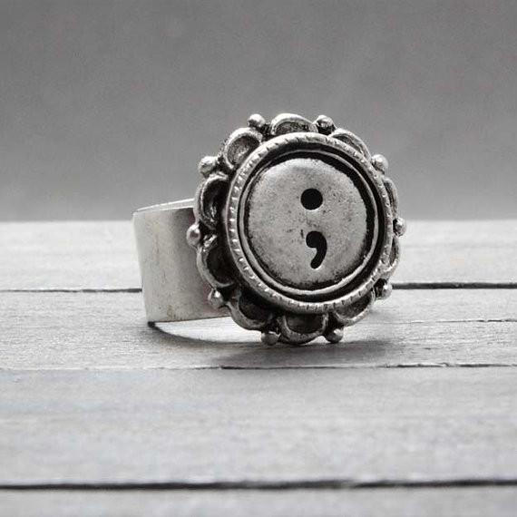 Floral Embedded Semicolon Symbol Ring - Suicide Awareness & Support Jewelry - Shobble