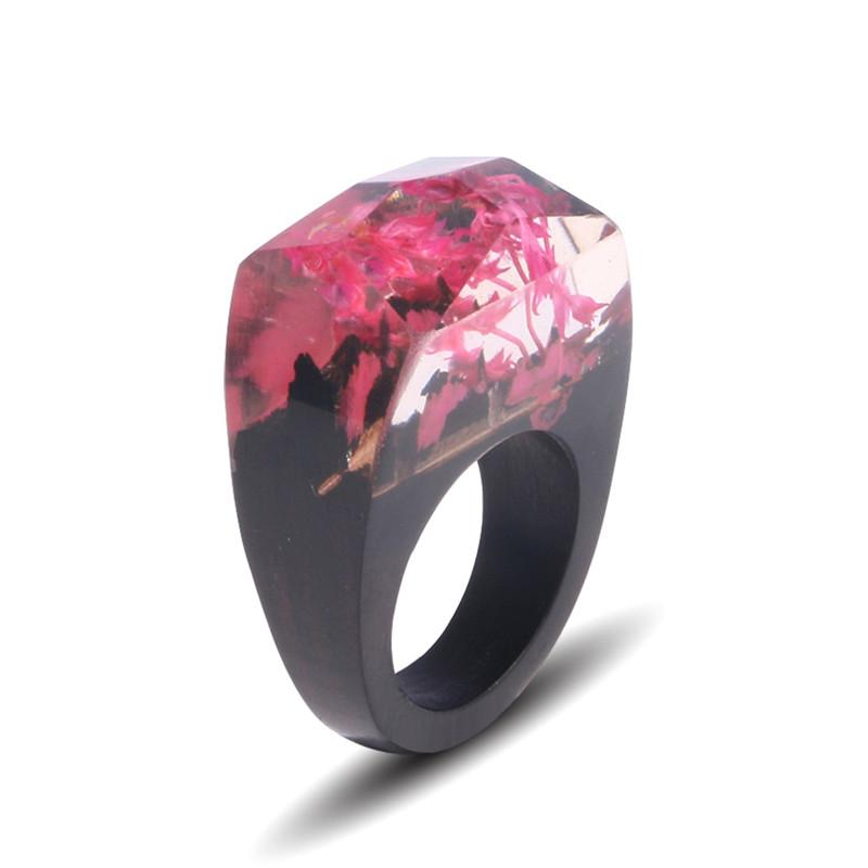Floral Pink Resin Ring - Shobble