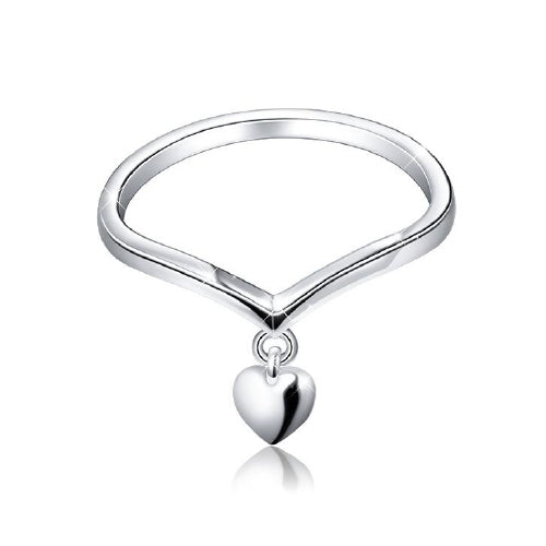 Heart Drop Sterling Silver Ring
