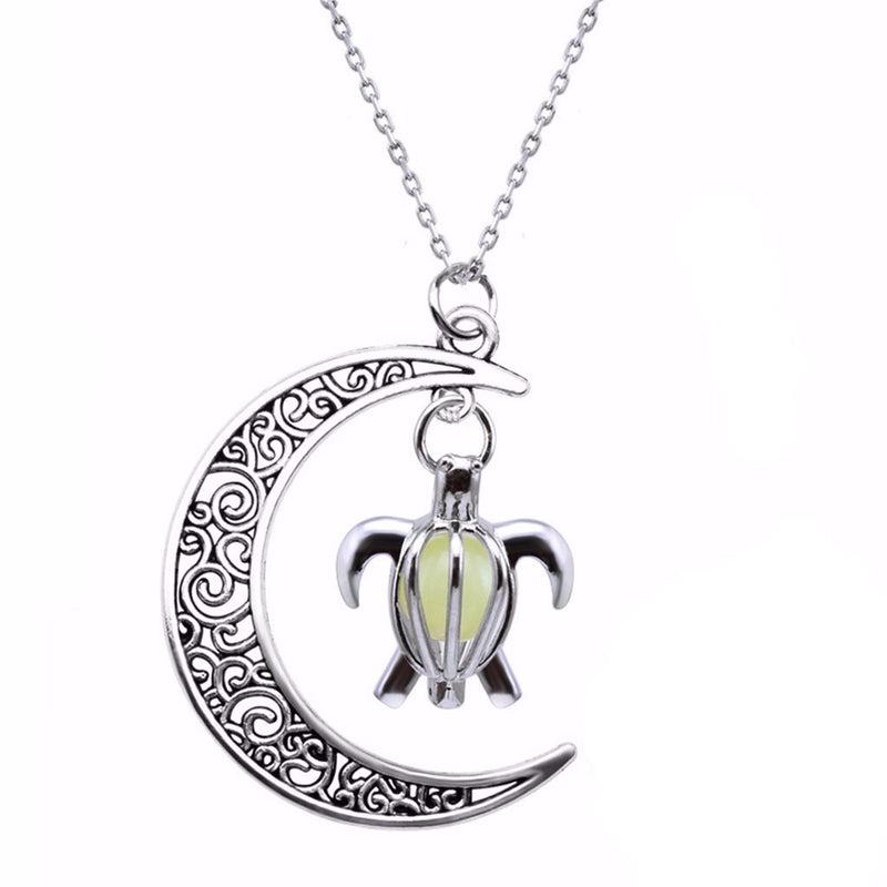 Moon Glow In The Dark Turtle Necklaces - Shobble