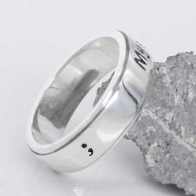 My Story Isn't Over Yet Semicolon Ring -  Genuine Sterling Silver (NEW) - Shobble