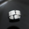 Semicolon Heart Ring - Suicide Awareness Ring - Aluminum