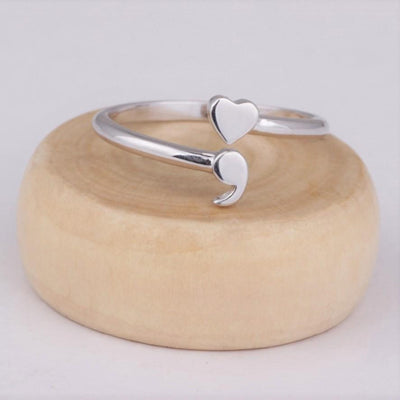 Semicolon Heart Ring - Shobble