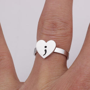Semicolon Heart Ring - Suicide Awareness Jewelry - Shobble