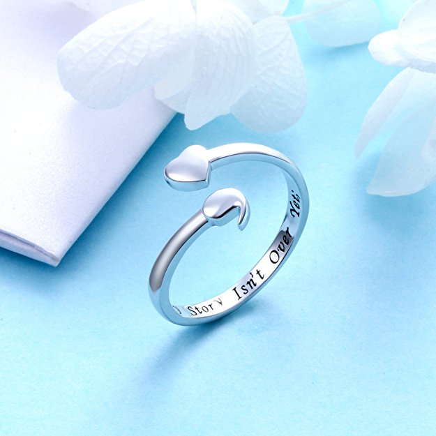 Semicolon Heart Ring