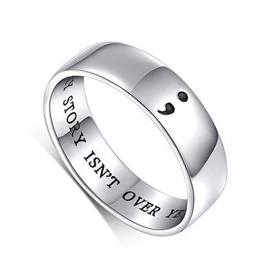 Sterling Silver Semicolon Ring