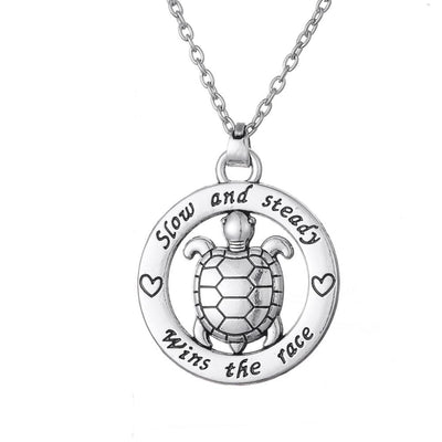 Slow and Steady Wins The Race Turtle Necklace - Shobble