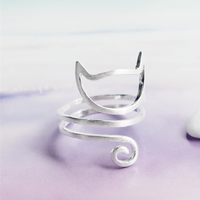 Spiral Cat Ring - Genuine Sterling Silver - Shobble