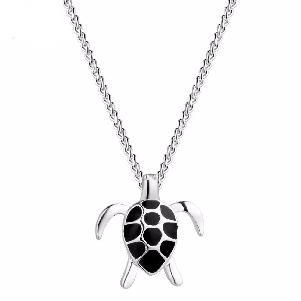 Sterling Silver Turtle Necklace - Shobble