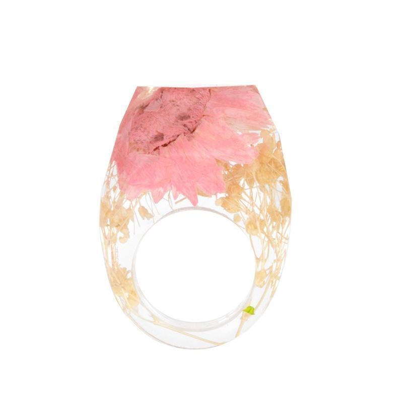 Summer Peach Resin Flower Ring - Shobble