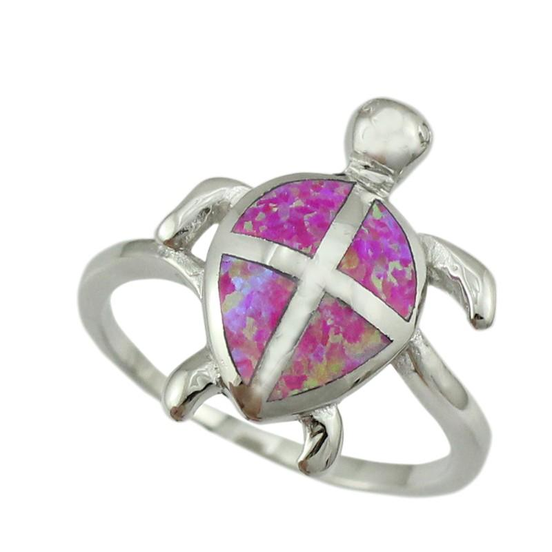 Turtle Silver Plated Opal Rings - Shobble