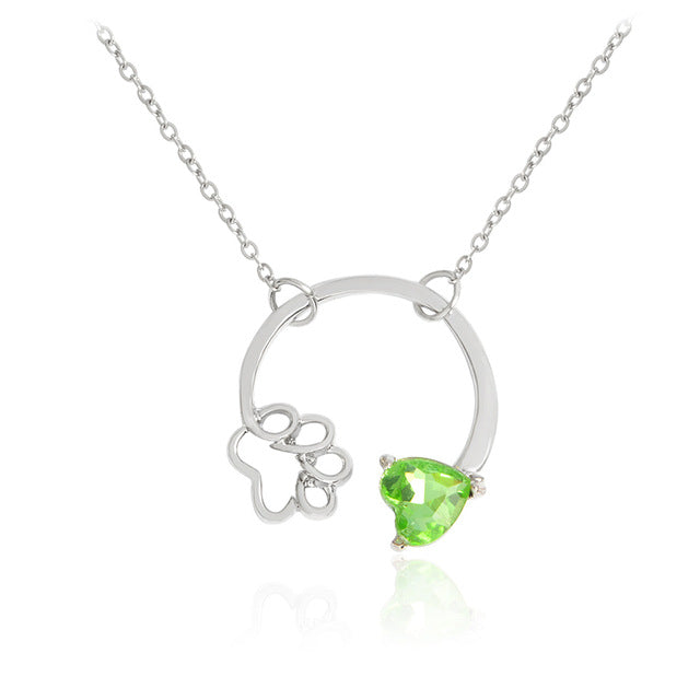Birthstone Paw Print Heart Necklace