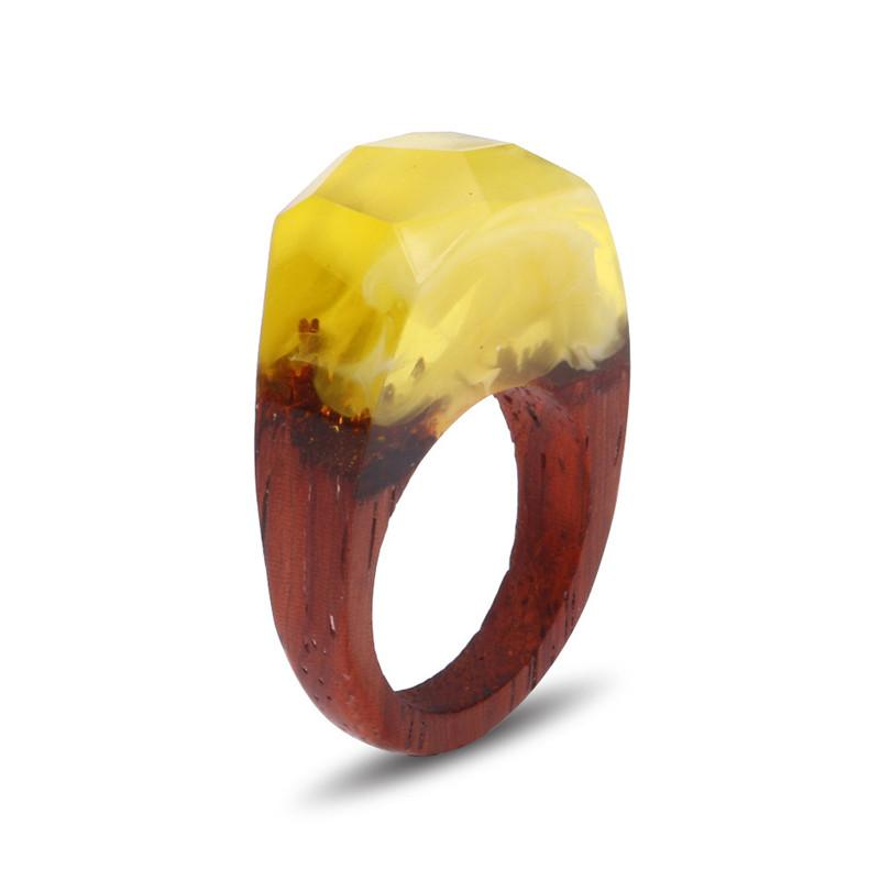 Yellow Rock Wooden Resin Ring - Shobble