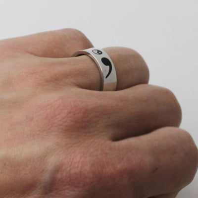 Yin Yang Semicolon Ring - Genuine Sterling Silver (NEW) - Shobble