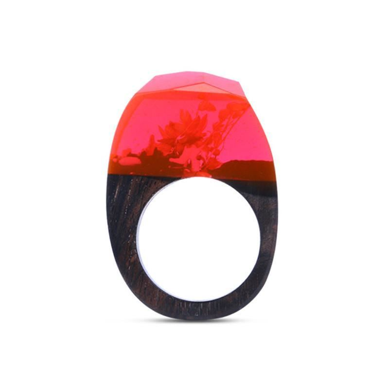 Crimson Red Resin and Wood Ring
