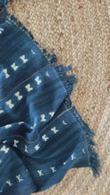 Load and play video in Gallery viewer, Vintage African Indigo Throw - Green Stripe