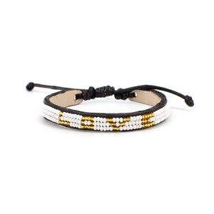 Kenyan Bead Bracelet - LOVE White/Gold