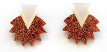 Load image into Gallery viewer, Starburst Earrings - Rose Gold Glitter